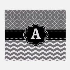 Gray Black Quatrefoil Chevron Monogram Throw Blank