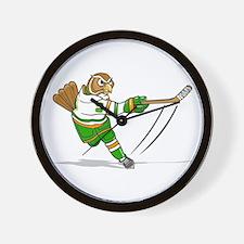 owl hockey player Wall Clock