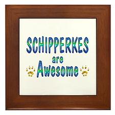Schipperkes are Awesome Framed Tile