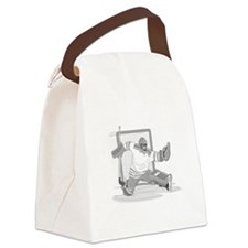 gray hockey player Canvas Lunch Bag