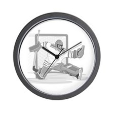 gray hockey player Wall Clock