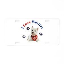 I Love Westies 111 Aluminum License Plate