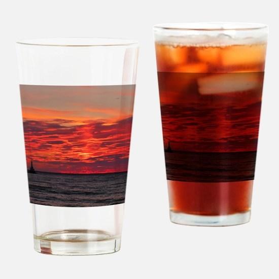 Fire Sunset Lk Superior Drinking Glass
