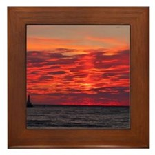 Fire Sunset Lk Superior Framed Tile