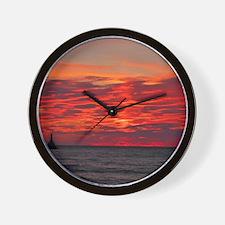 Fire Sunset Lk Superior Wall Clock
