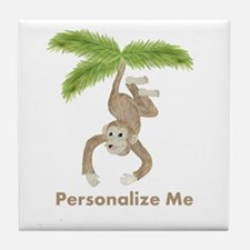 Personalized Monkey Tile Coaster