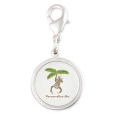 Personalized Monkey Silver Round Charm