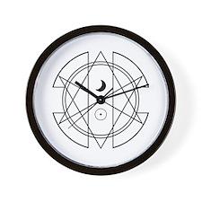 Unicursal Hexagram Luna Sol Wall Clock