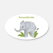 Personalized Elephant Oval Car Magnet