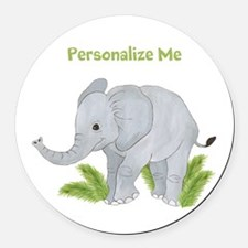 Personalized Elephant Round Car Magnet
