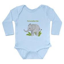 Personalized Elephant Long Sleeve Infant Bodysuit