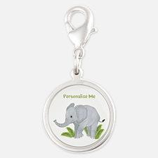 Personalized Elephant Silver Round Charm