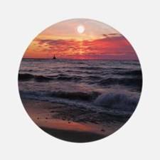 Sunset with waves Ornament (Round)