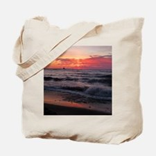 Sunset with waves Tote Bag
