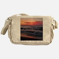 Sunset with waves Messenger Bag