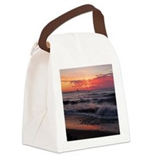 Sunset with waves Canvas Lunch Bag