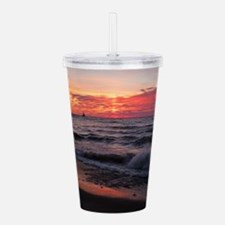 Sunset with waves Acrylic Double-wall Tumbler