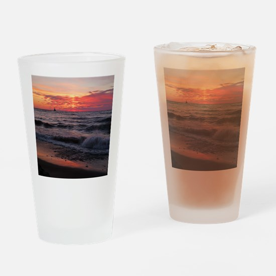 Sunset with waves Drinking Glass