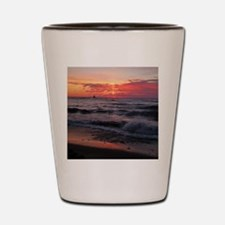 Sunset with waves Shot Glass