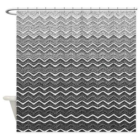 Gray Ombre Chevron Shower Curtain