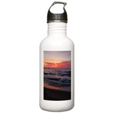 Sunset with waves Water Bottle