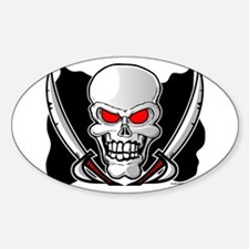 Pirate Flag - Jolly Roger Oval Decal