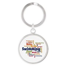 Swimming Word Cloud Keychains