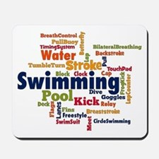 Swimming Word Cloud Mousepad