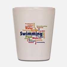 Swimming Word Cloud Shot Glass