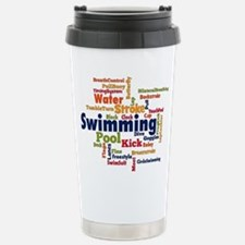 Swimming Word Cloud Travel Mug