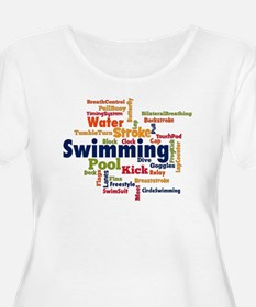 Swimming Word Cloud Plus Size T-Shirt
