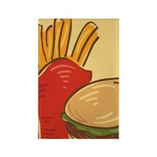 Hamburger and Fries Rectangle Magnet