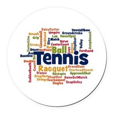Tennis Word Cloud Round Car Magnet