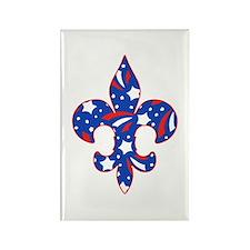 """Fleur de lis """"Red, White & Blue"""" Rectangle Magnet"""