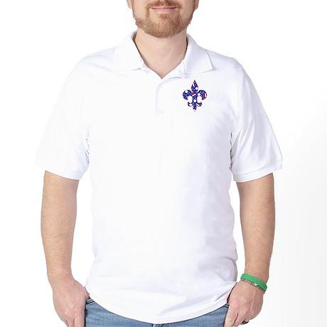 "Fleur de lis ""Red, White & Blue"" Golf Shirt"