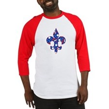 "Fleur de lis ""Red, White & Blue"" Baseball Jersey"