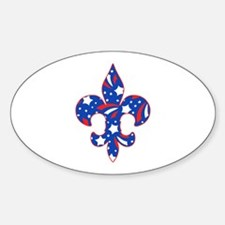 "Fleur de lis ""Red, White & Blue"" Oval Decal"
