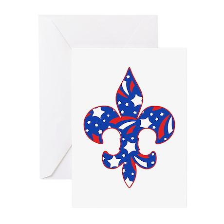 "Fleur de lis ""Red, White & Blue"" Greeting Cards (P"