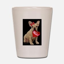 french bulldog valentine Shot Glass