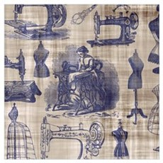 Vintage Sewing Toile Wall Art Poster