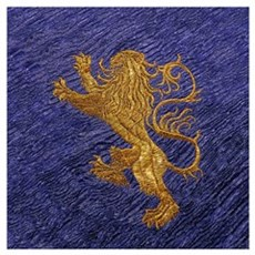 Rampant Lion - Gold On Blue Wall Art Poster
