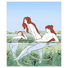 Art Nouveau: Bathing Nymphs Wall Art Poster