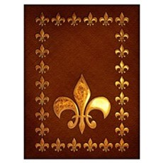 Old Leather With Gold Fleur-De-Lys Wall Art Framed Print