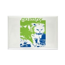 Grumpy Green Kitty Rectangle Magnet (10 pack)