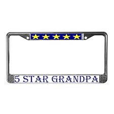 5 Star Grandpa License Plate Frame Blue