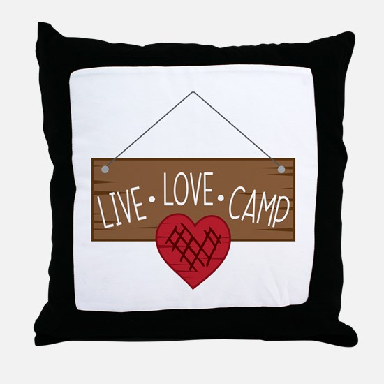 Live Love Camping Throw Pillow