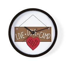 Live Love Camping Wall Clock