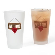 Welcome Board Drinking Glass