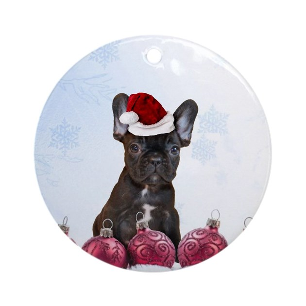 Christmas French Bulldog Ornament Round By Ritmoboxers