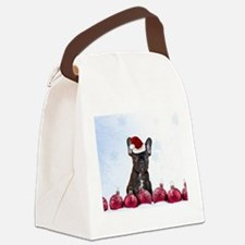 Christmas French Bulldog Canvas Lunch Bag